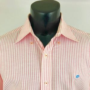 Souther Tide Button Up Shirt Oxford Striped Pink L